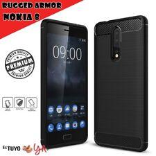 Funda para Nokia 8 rugged armor carcasa slim efecto carbono, negro