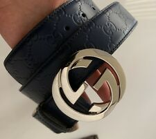 AUTH NEW GUCCI GUCCISSIMA GG SIGNATURE LOGO NAVY BLUE LEATHER SILVER BELT 110/44