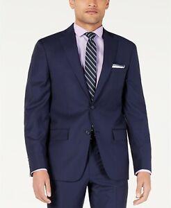 DKNY Modern-Fit Indigo Blue Plaid Suit Jacket Mens 44S 44 $575