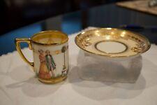 Antique LAMM Dresden Saxony Demitasse Cup & Saucer Hand Painted Rare