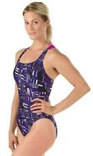 Girls SPEEDO Trippy Stripe Drop Back Swimsuit Size 10 26 Youth ProLT Racing Poly