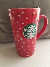 2018 Starbucks Christmas Mug Red w/White and Gold 'Snow' Design,14 oz,