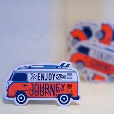 "#4077 VW bus Outdoor Camper vintage Van Enjoy The Journey 2x3"" Decal sticker"