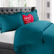 King Size Duvet Cover Set Teal Microfiber Hypoallergenic Bedding New