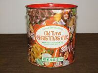 "VINTAGE KITCHEN 6 1/4"" HIGH PEERLESS CANDY OLD TIME CHRISTMAS MIX TIN CAN *EMPTY"