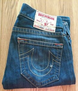 TRUE RELIGION BOBBY SZ 31 (33W×29L) STRAIGHT LEG MADE IN USA MED WASH JEANS EUC