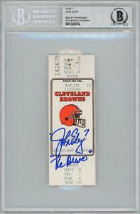 John Elway Autographed 1987 AFC Championship Ticket The Drive BAS Slab 33709