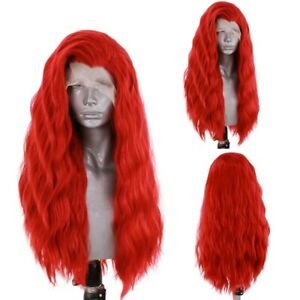 24inch Synthetic hair Glueless Lace front wigs Wavy Long Women Red Handtied