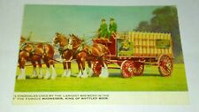 Clydesdale Horse'S Budwiser Beer Wagon 1940S Post Card