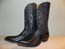 80's Black (2-types) Leather Western Style Boots Men's Size 8 1/2 B (W/m 10 1/2)