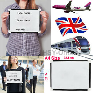 Meet & Greet Reusable A4 Sign Board Picking Guest From Airport Railway Stations