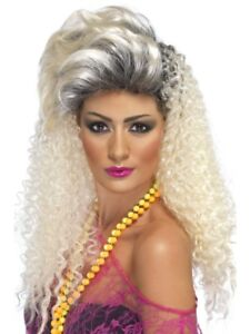 80's Curly Bottle Blonde Wig with Quiff Adult Womens Smiffys Fancy Dress Costume