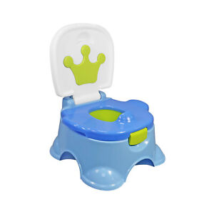 3 In 1 Baby Potty Blue Crown Training Urinal Fun Toddler Toilet Trainer