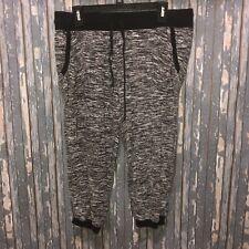 NOBO XL 15-17 Junior's Black White Hacci Cropped Drawstring Sweats Pants