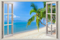 Sunshine Beach 3D Window Vinyl Decal Home Decor View Removable Wall Art Stickers