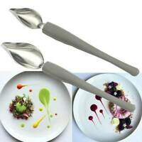 2Pcs Plate Dish Sauce Painting Pencil Coffee Art Draw Tool Spoon Stainless Steel