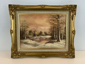 Vintage Winter Scene Landscape Painting on Canvas Signed Antonio with Gilt Frame