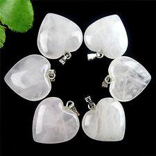 wholesale 6PCS Beautiful heart Rose Quartz Pendant bead BC3980