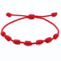 Pulsera roja de 7 nudos de la suerte para hombre o mujer de hilo bracelets