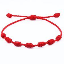 Pulsera roja de 7 nudos de la suerte para hombre o mujer de hilo moda bracelets
