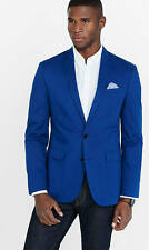 New Express $198 Blue Twill Slim Fit Photographer Suit Jacket Blazer Coat 40 L