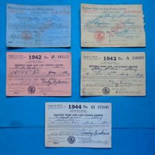 Vtg Lot Of 5 1940-44 State Of Illinois Resident Hook And Line Fishing License