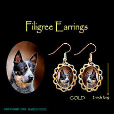 Australian Cattle Dog Black - Gold Filigree Earrings Jewelry