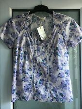 M&S INDIGO SIZE 12 LILAC/BLUE WISTERIA PATTERN PINTUCK TIE FRONT BLOUSE TOP BNWT