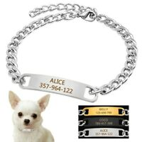 Dog Snake Chain Collar Personalised Dog Collar Stainless Steel Engraved for Free