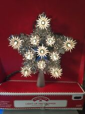 New! Christmas Star Light Up Tree Topper Retro Silver Holiday Time