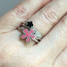 Sterling Silver Stack Rings Pink Black Enamel Flower  Sz 8
