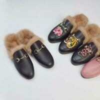 Rabbit Fur Occident Mens Real Leather LoafersEmbroidered Mules Horsebit Slippers