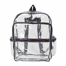 CLEAR LARGE TRANSPARENT PVC SCHOOL NFL SECURITY BACKPACK TRAVEL BOOKS BAG