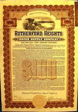 Vintage $100 bond Rutherford Heights Water Supply Company, 1911 with 53 coupons