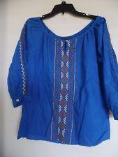 Women  Velvet Blue Boho Top Embroidered  Tunic  Size M