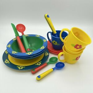 Vintage Play Dishes bright primary colors flowers pretend kitchen