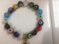 EVIL EYE BRACELET Glass Lampwork Beads Stretch Gold Plated Good Luck Protection