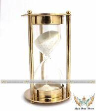 Nautical Brass Sand Timer Hourglass Vintage Collectible Maritime Desk Decor Item