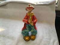 "Vintage Alvarez Mexico Paper Mache Clown 10"" Tall Thumbs Up Bright And Colorful!"