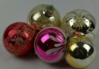 Vintage Christmas Ornament Set of 5 Glass Shiny Brite Indents Silvered Mica