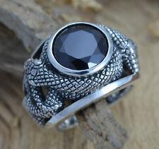 925 Silber schwerer Schlangenring Onyx schwarzer Stein Biker Gothic Gotik Viking