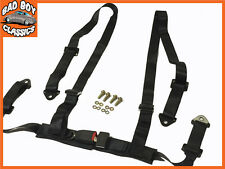 4 Point Black Racing Seat Belt Harness Kit For Car / Off Road / 4x4