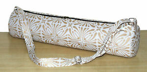 Hand Block Printed White Gold Yoga Mat Carrier Bags With Adjustable Strap Throw