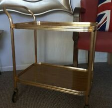 Vintage Retro Teak Formica & Gold Tea Drinks Cocktail Hostess Trolley Cart Fab!
