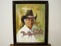 CALIFORNIA ARTIST - HARLAND YOUNG - SELF PORTRAIT w/HORSES - OIL/CANVAS PAINTING