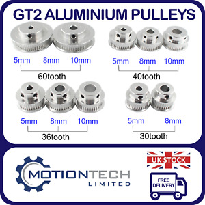 GT2 Timing Belt Pulley 30T, 36T, 40T & 60T 5, 8 & 10mm Bore for CNC & 3D Printer