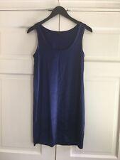 THEORY Blue Sleeveless Stretch Satin Tank Dress Size 4 EUC