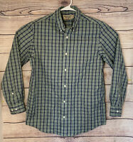 Duluth Trading Mens Size M Green Plaid Short Sleeve Button Down Wrinkle-Fighter