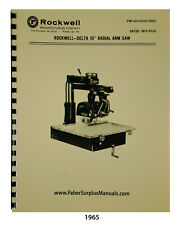 Rockwell Delta 10 Radial Arm Saw Year 1965 Instructions And Parts Manual 1965