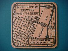 Beer Coaster Bar Mat ~*~ ROCK BOTTOM Brewery and Restaurant ~*~ Portland, OREGON